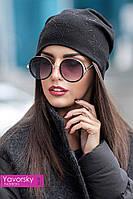 Женская стильная тёплая шапка на флисе в разных цветах