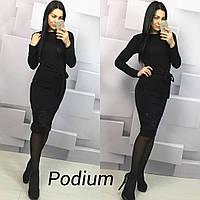 Женское стильное платье с гипюром ткань ангора цвет черный, фото 1