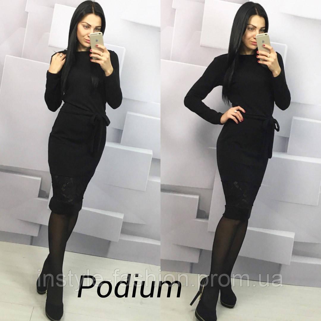 Женское стильное платье с гипюром ткань ангора цвет черный