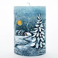Новогодняя свеча с росписью голубая