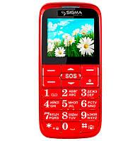 Мобильный телефон Sigma mobile Comfort 50 Slim Red 'бабушкофон' / 2 Sim / дисплей 2.2' цветной (220x170) / моноблок / MTK6260 / камера 0.3 Мп /