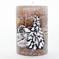 Новогодняя свеча с росписью шоколад