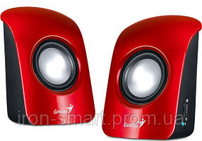 Колонки 2.0 Genius SP-U115 Red, 2 x 0.75 Вт, пластиковый корпус, питание от USB, управление сбоку