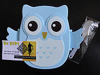 Ланчбокс / ланч бокс СОВА (3 цвета). Приборы в подарок. голубой