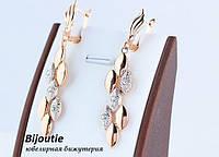 Серьги ювелирная бижутерия золото 18к декор кристаллы Swarovski, фото 1