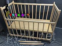 Кровать детская КФ 2 ольха (колеса, качалка, опускание борта)