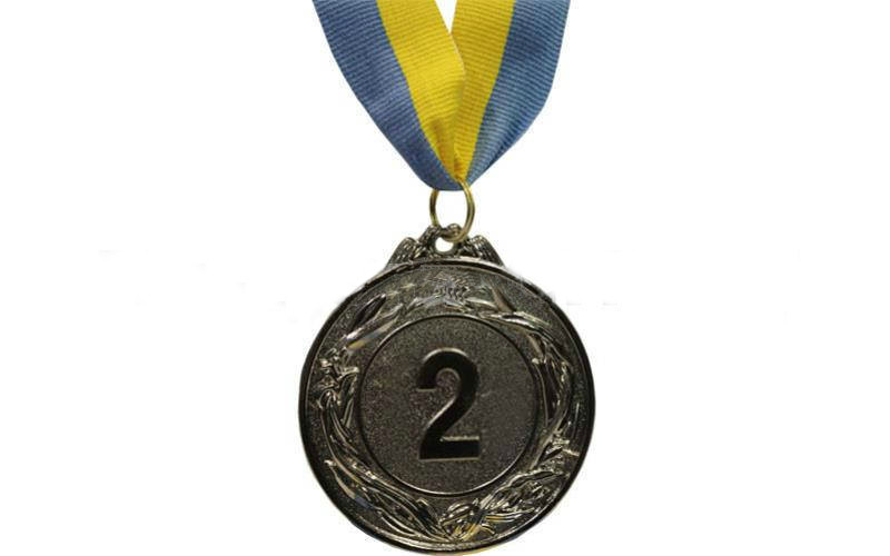 Медаль спорт d-6,5см С-4327-2 серебро GLORY (40g, на ленте)