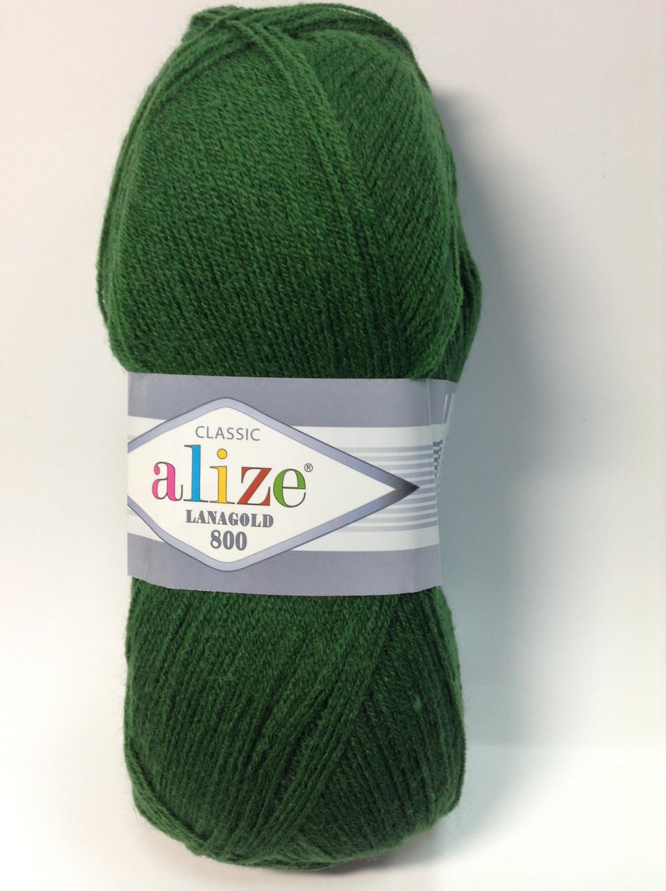 Пряжа lana gold 800 - цвет зеленый