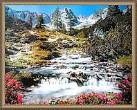 Картина Горная река 400х500мм №353 в багетной рамке