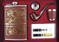 Фляга - подарочный набор кожа с золотом 4 вида