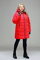 Куртка зимняя  больших размеров,М-347 красная