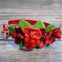 Обруч Ніжні троянди (червоний), фото 1