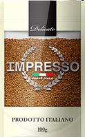 Растворимый кофе с добавлением молотого зерна  IMPRESSO Delicato в мягкой упаковке 100 грамм