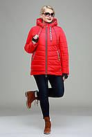 Куртка  женская демисезонная большие размеры,М-335 спорт-красная