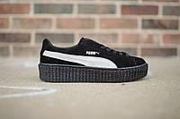 Кроссовки женские Puma x Rihanna Creeper Satin Black/White (пума)
