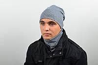 Комплект мужской (шапка и снуд мел.) шахматная