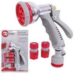 Пистолет-распылитель для полива хромированный 8-ми функциональный INTERTOOL GE-0005