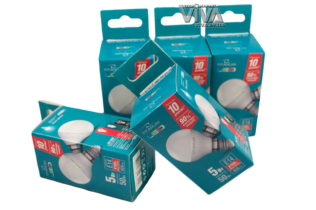 LED лампа светодиодная Titanum G45 5W E14 4100K 220V