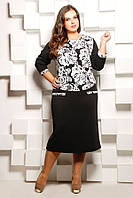 Женское Платье черное комбинированное с белым принтом  СОФИЯ (50-62)