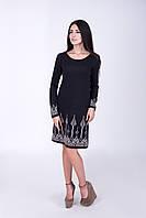 Платье с жаккардовым узором черно-натурального цвета