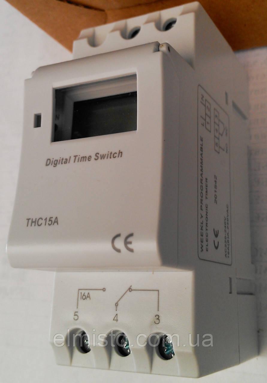 Недельный программируемый электронный таймер THC 15A  (24ч./ 7д.)