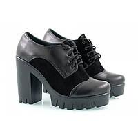 Женские стильные демисезонные туфли на каблуке из натуральной кожи с замшей 2016 (V-I)