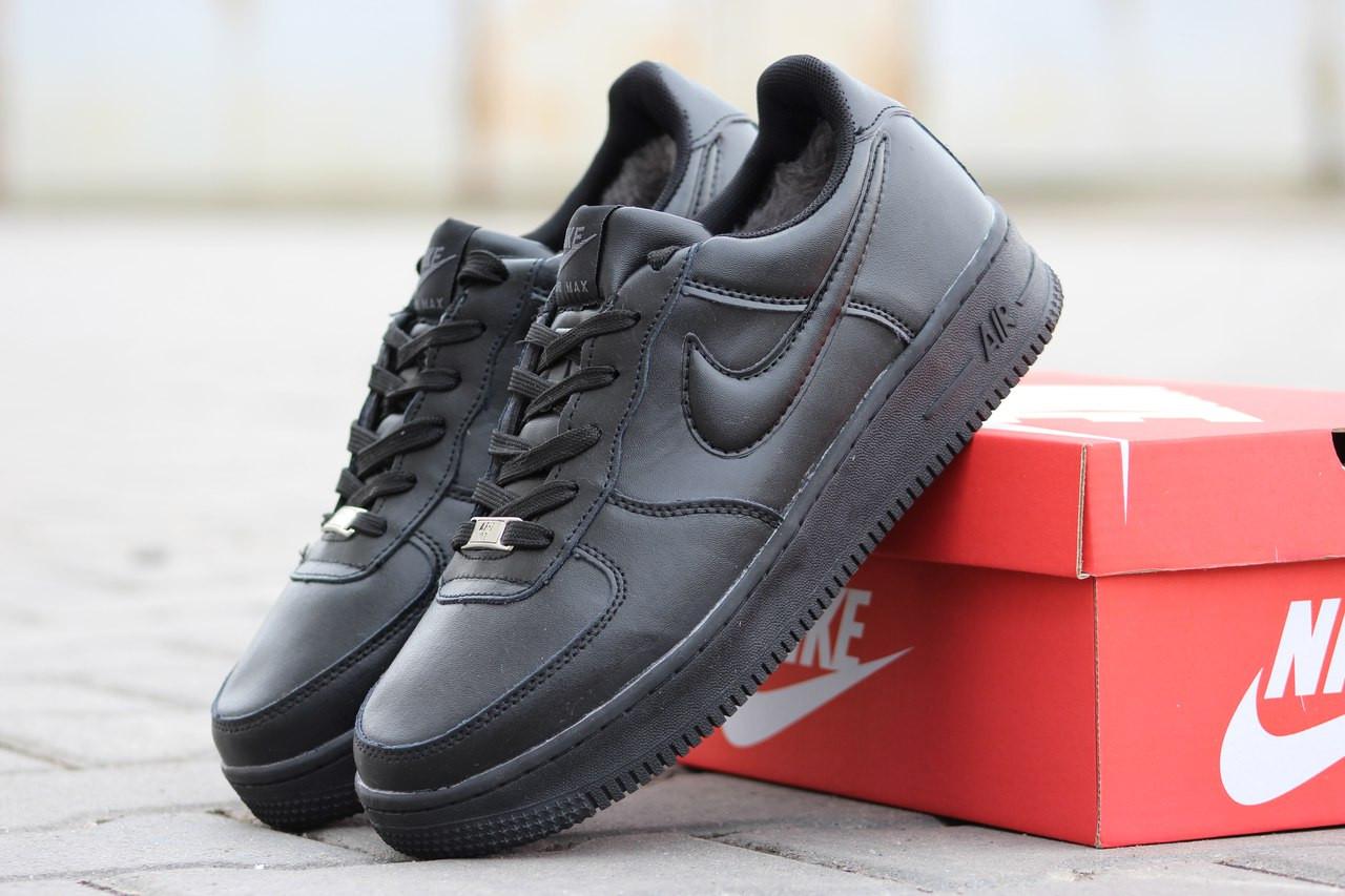 Подростковые зимние кроссовки Nike Air Force черные 46р