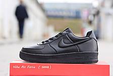 Подростковые зимние кроссовки Nike Air Force черные 46р, фото 2