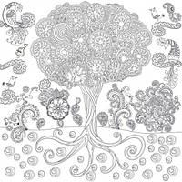 Обои раскраска  Сказочное Дерево 60х60