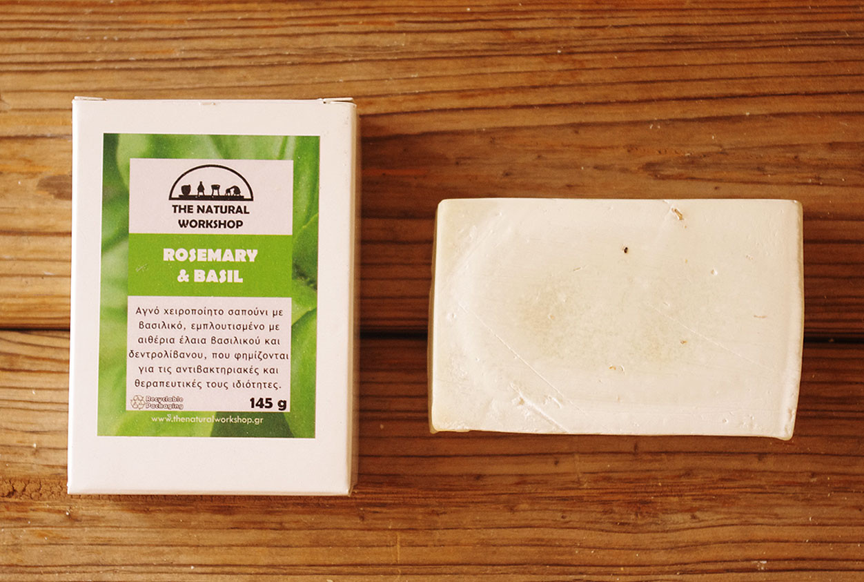 Греческое оливковое мыло ручной работы Розмарин & Базилик (The Natural Workshop), 145g., Греция