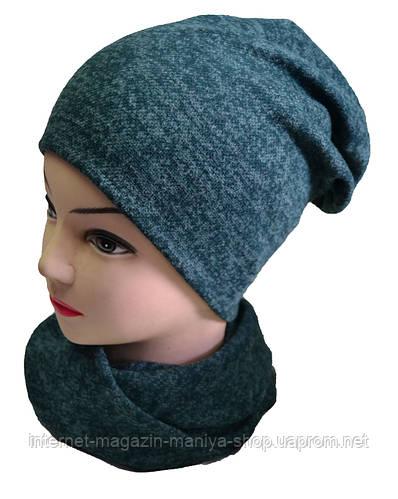 Комплект шапка и шарф-хомут детский на девочку