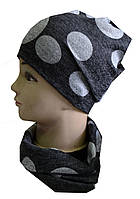 Комплект женский шапка и шарф-хомут горох