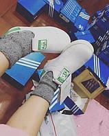 Кроссовки детские Adidas Stan Smith White/Green (в стиле адидас  кидс)