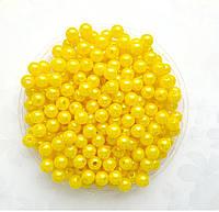 Бусины Жемчуг Желтые 8 мм Упаковка 50 гр/190 шт, фото 1