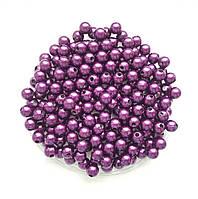 Бусины Жемчуг Пурпурный металлик 8 мм Упаковка 50 гр/190 шт, фото 1