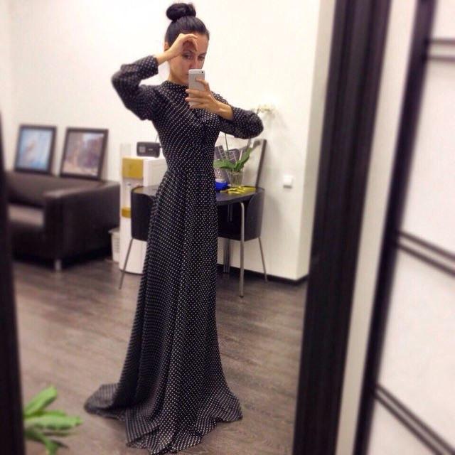 1bec56c15af Длинное шифоновое платье в пол в горошек   продажа