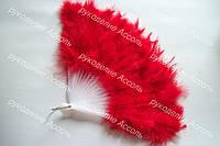 Веер перьевой красного цвета