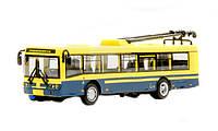 "RUS Модель троллейбус PLAY SMART 6407D ""Автопарк"" метал.инерц.откр.дв.кор.20*5,7*7,7 ш.к./96/"
