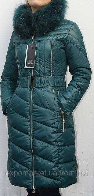 Женский пуховик пальто теплый SHENOWA с мехом - енот