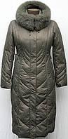 Пальто длинное зимнее SHENOWA с мехом - песец