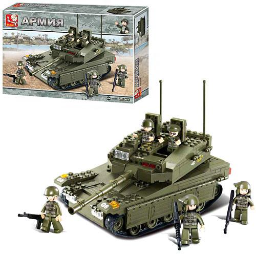 Конструктор SLUBAN M38-B0305  армия, танк,фигурки,344дет,в кор-ке,42,5-28,5-7см