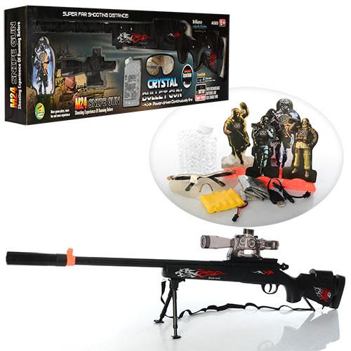 Ружье 2015A  104см, аккум, водяные пули, свет, очки, мишени,USB-зарядн, в кор-ке, 95-24-8см
