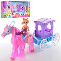 Карета 686-714  лошадь-ходит, 42см, кукла 10см, на бат-ке, в кор-ке, 41-21-12см