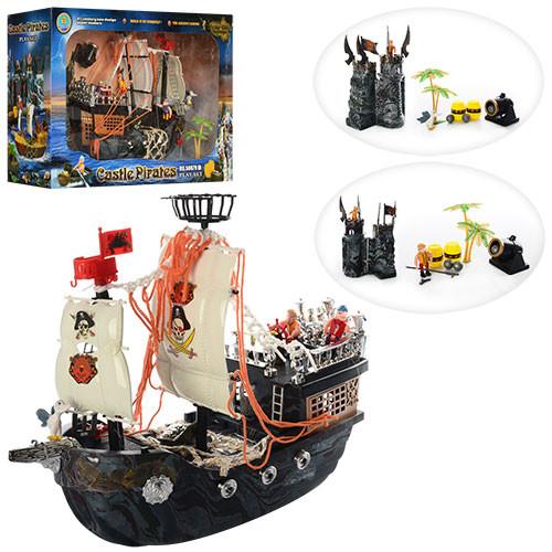 Корабль пиратов 50878C  40-14-34см, замок 26см, фигурки 4шт, пушка, в кор-ке, 60-39,5-20см