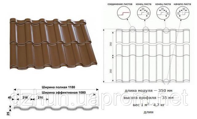 Металлочерепица  PRUSZYNSKI ARAD 0.45