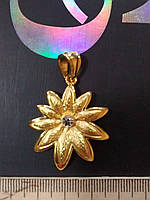 Акция Кулон Цветок со стразиком Gold