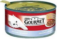 Gourmet (курица и почки) кусочки в паштете 195 г* 24шт-консервированный корм для взрослых кошек