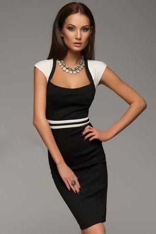 6c643778bc1 Платье футляр черное с белами полосками - Интернет-магазин одежды и обуви  от производителя