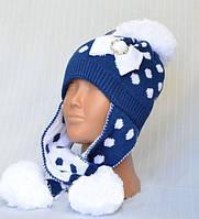 Модная шапка синего цвета