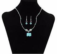 Набор Античность слон/ серьги и ожерелье/ бижутерия/ цвет серебро, бирюза